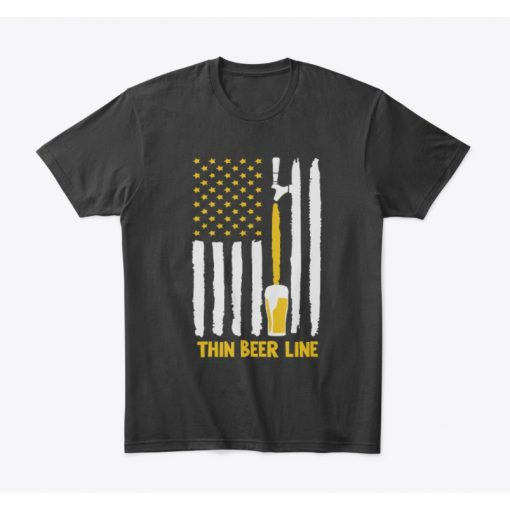 Beer T Shirt with American flag thin beer line
